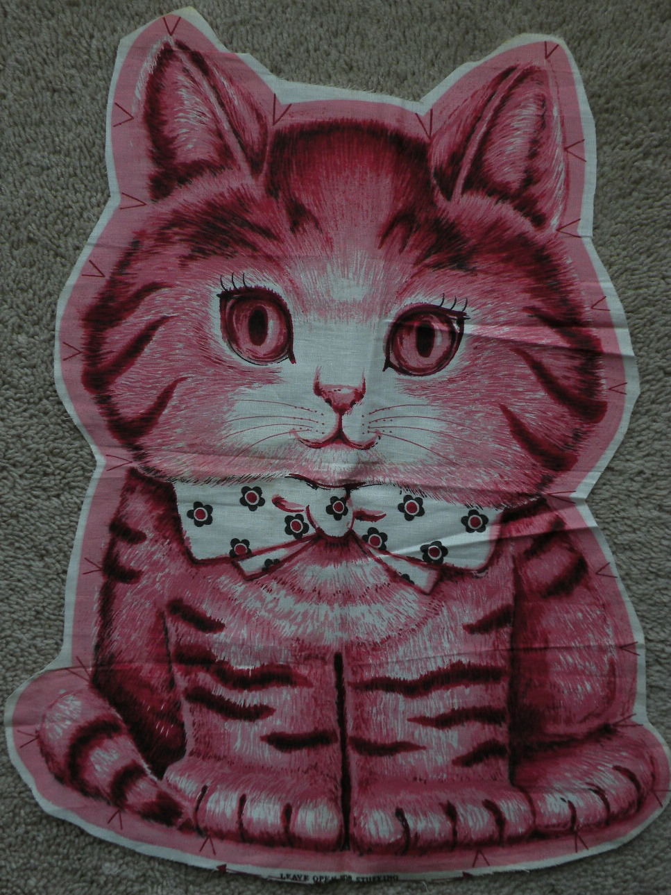 Charlie Kitty pillow fabric panel