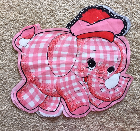 Pink Elephant pillow fabric panel