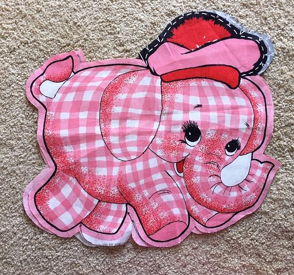 pink elephant fabric panel
