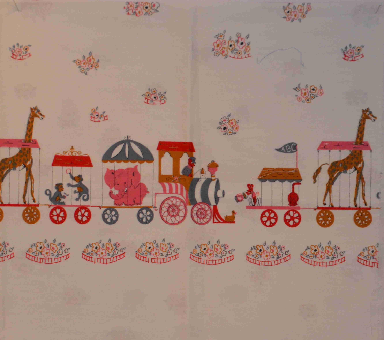 vintage fabric circus print