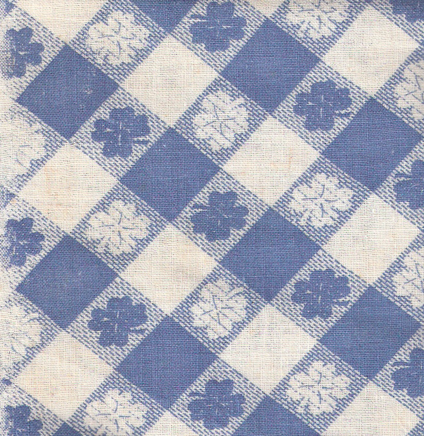 blue white checkerboard fabric
