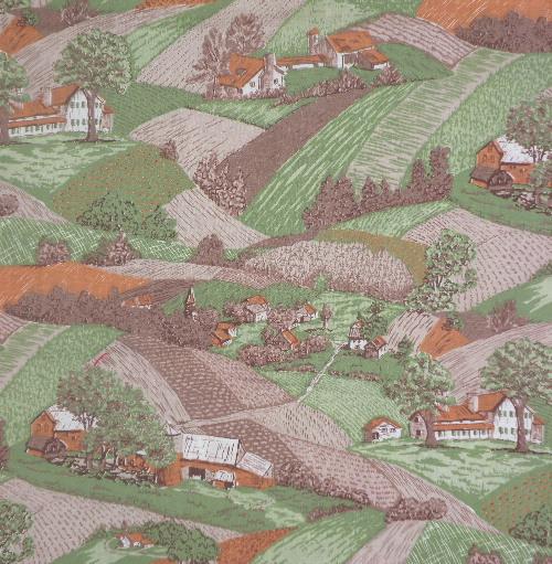vintage fabric rural farmland