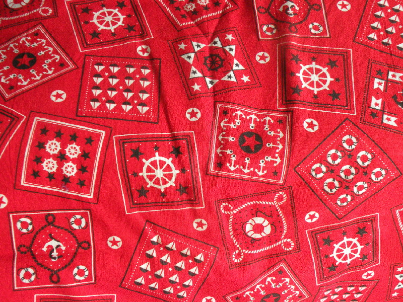 red nautical fabric