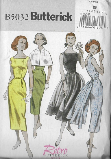 retro capelet dress cummerbund overskirt sewing pattern