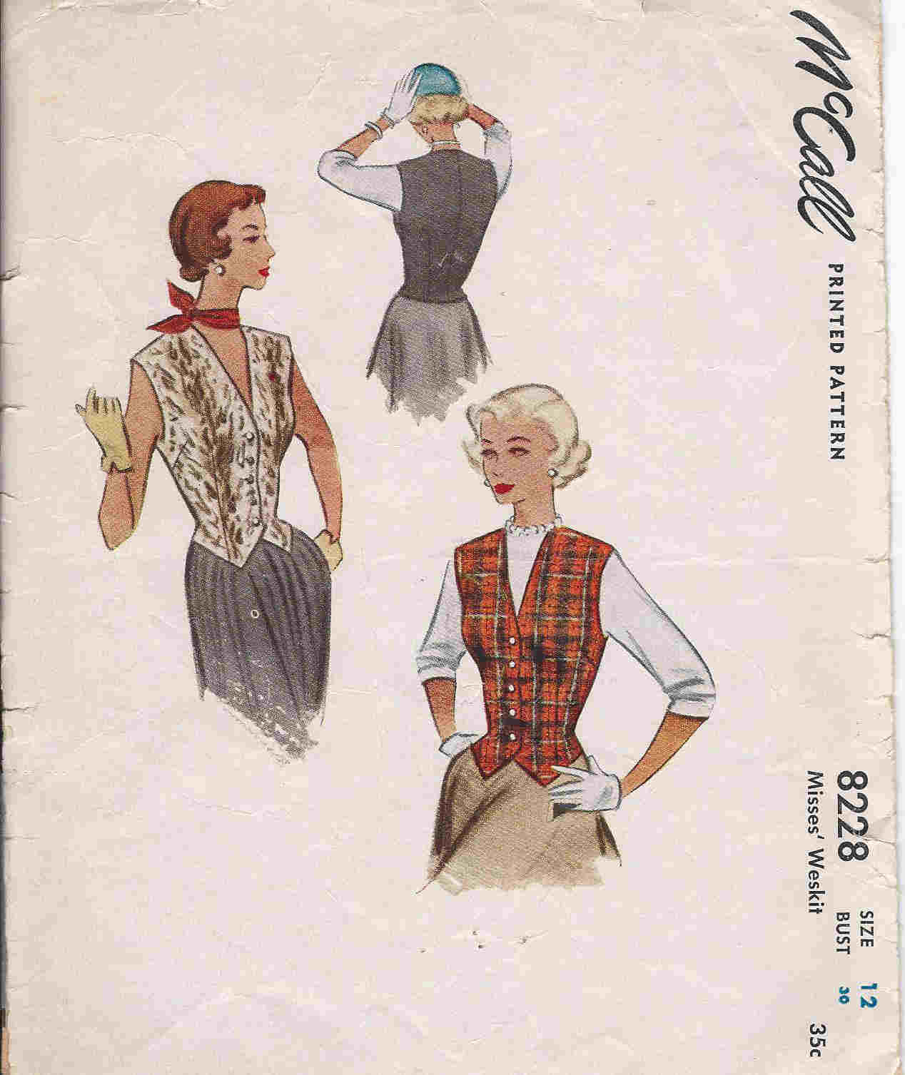 vintage weskit sewing pattern