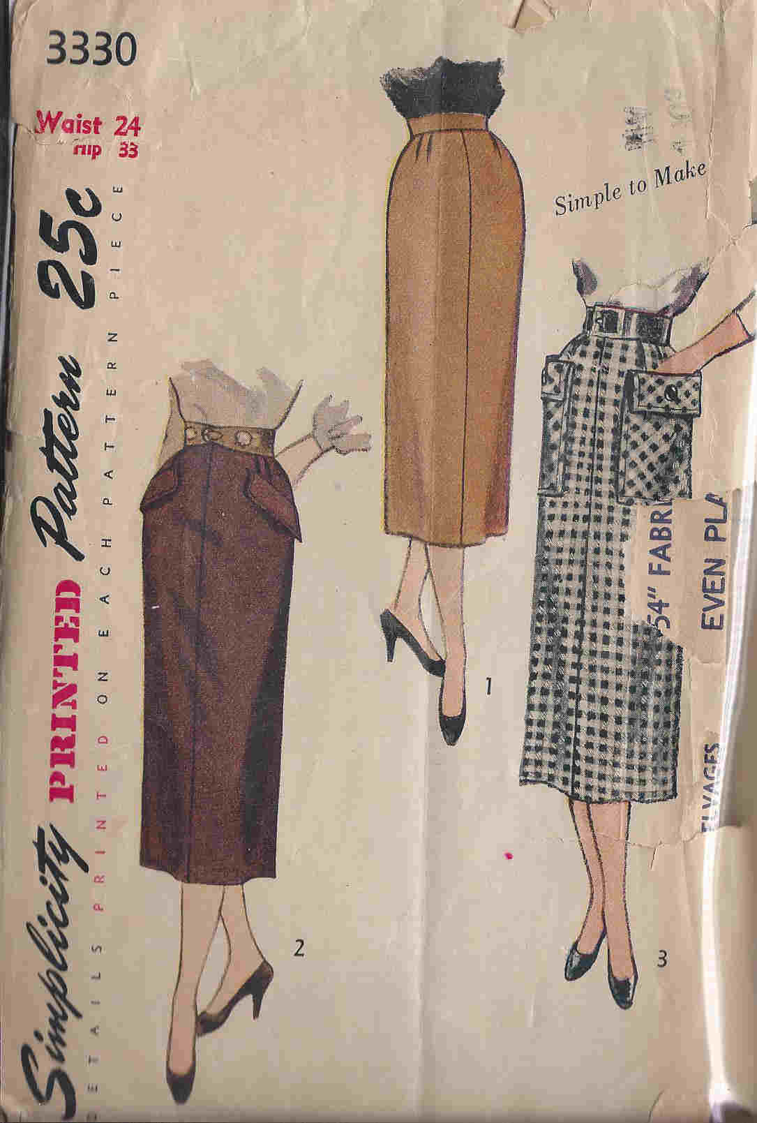 vintage pencil skirt pattern