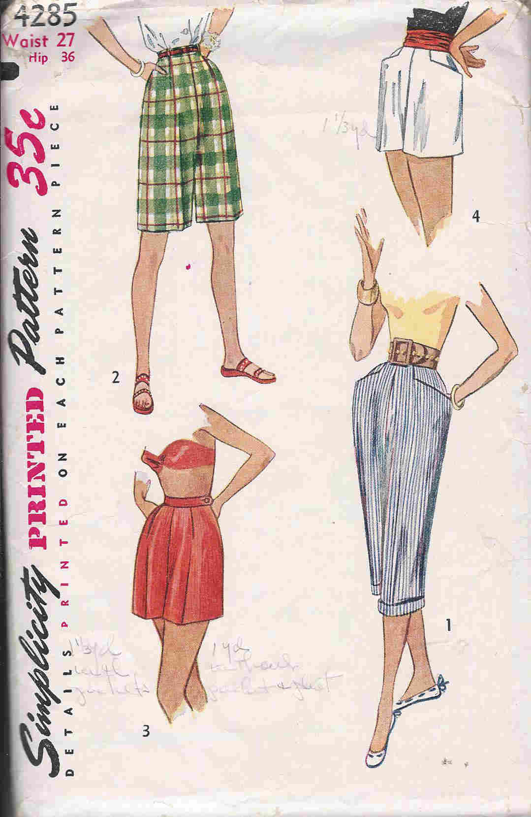 Pedal Pushers sewing pattern