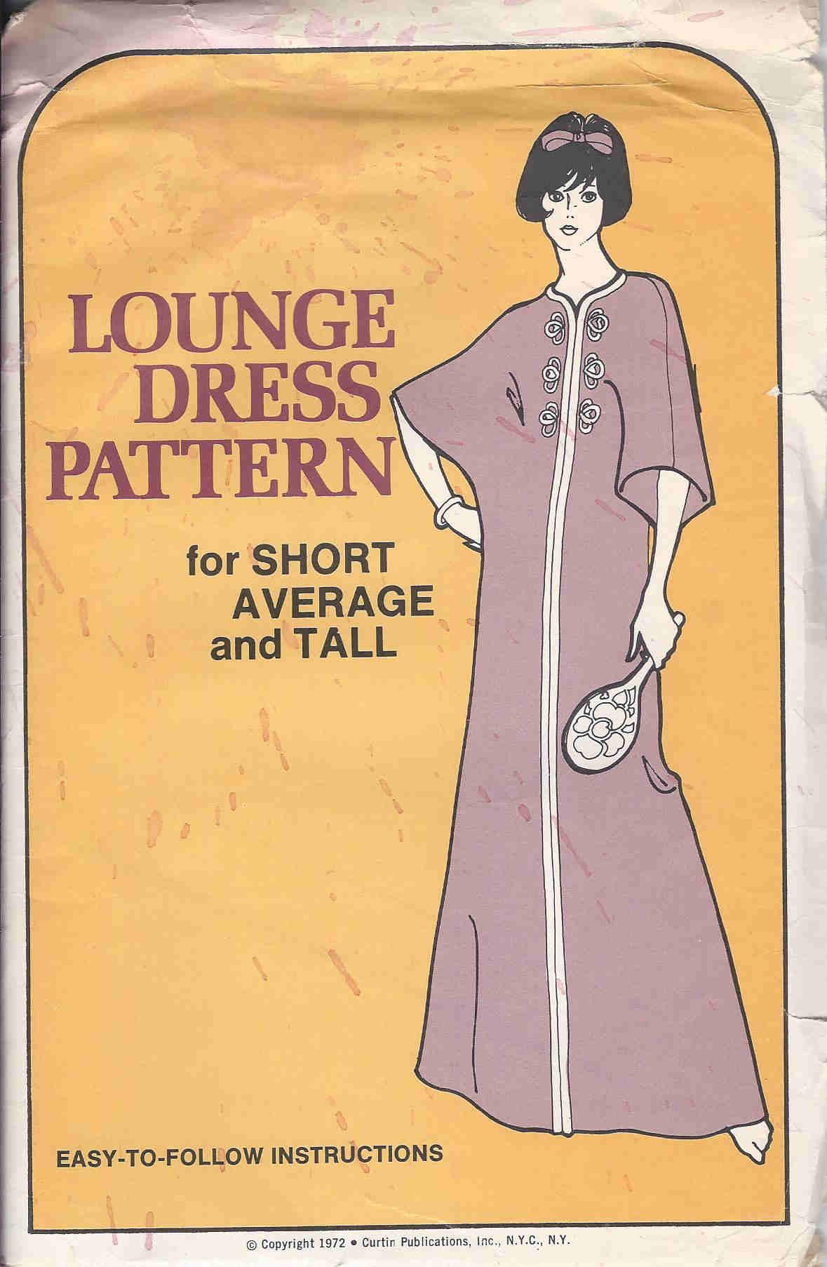 lounge dress 1970s Sewing pattern