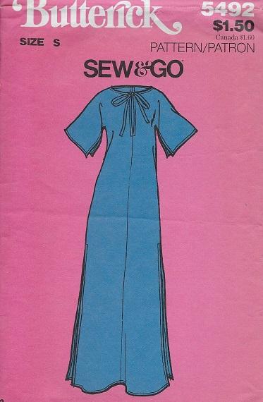 caftan 1970s Sewing pattern