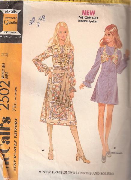 dress bolero 1970s Sewing pattern