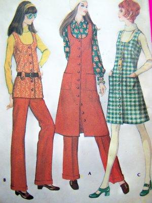 jumper vest pants 1970s Sewing pattern