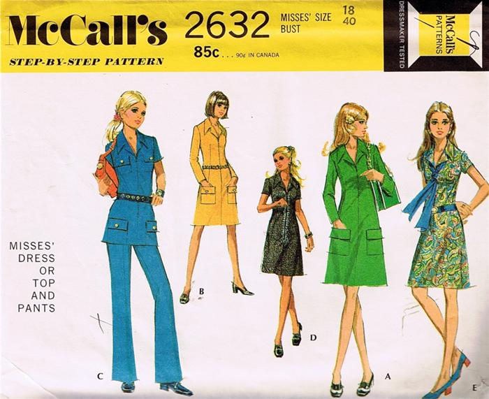 dress top pants 1970s Sewing pattern