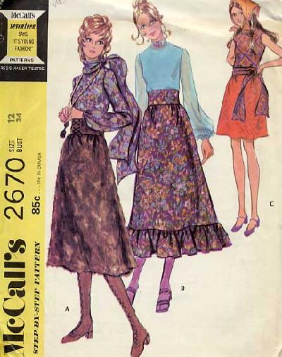 blouse skirt scarf sash 1970s Sewing pattern