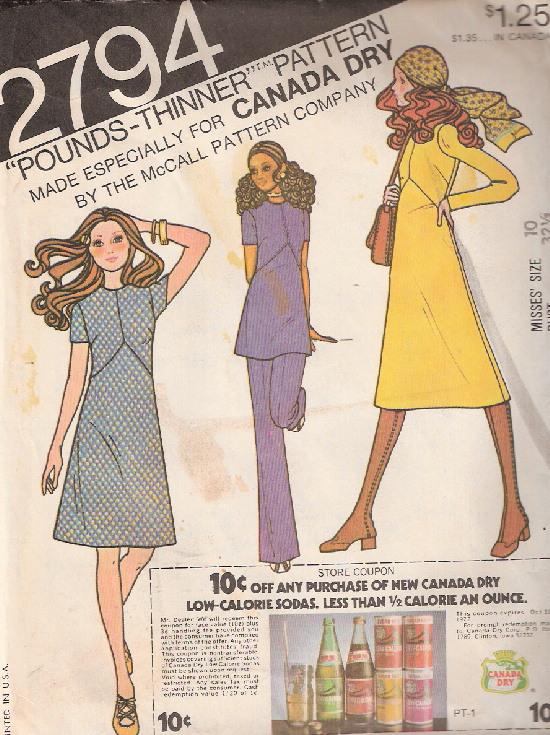 dress tunic pants 1970s Sewing pattern