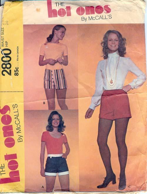 hot pants shorts 1970s Sewing pattern