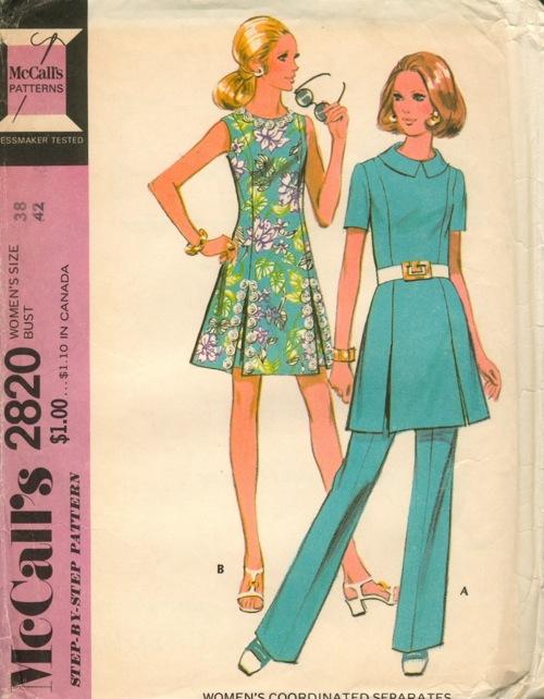 tunic shorts pants 1970s Sewing pattern