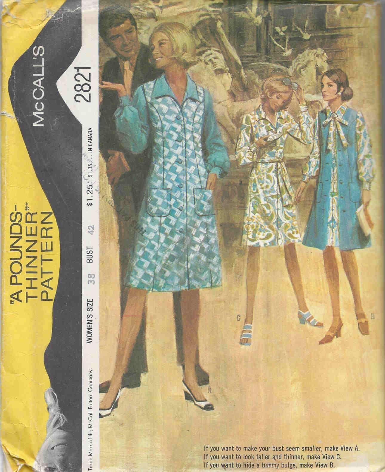 dress coat 1970s Sewing pattern