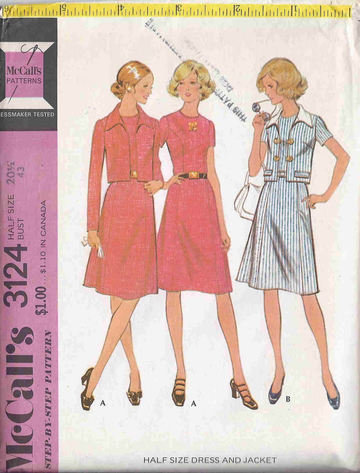dress jacket 1970s Sewing pattern