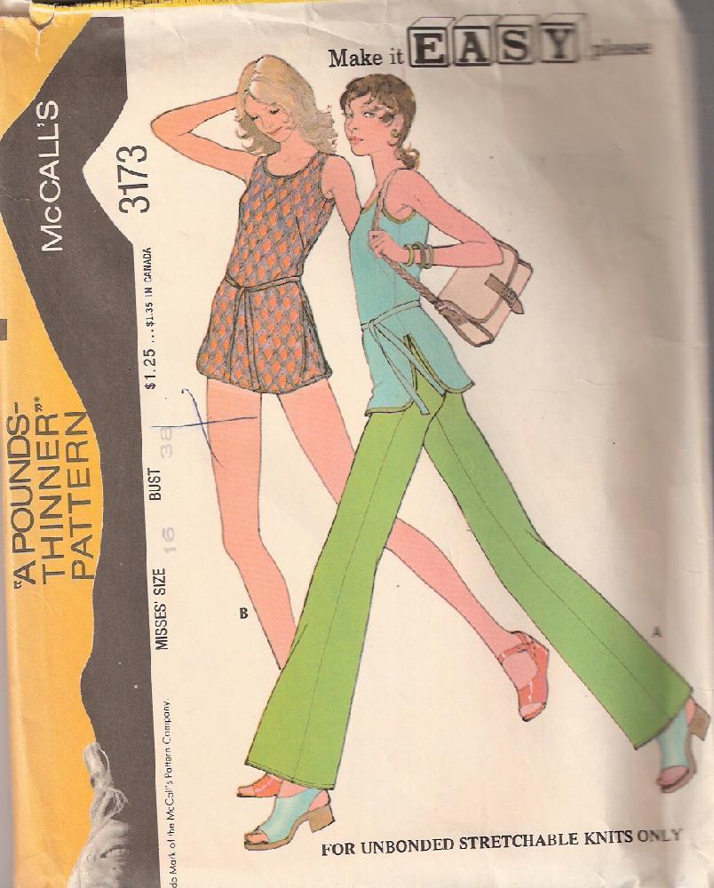 tunic pants 1970s Sewing pattern