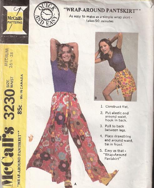 wrap pantskirt 1970s Sewing pattern