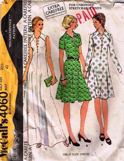 dress 1970s Sewing pattern