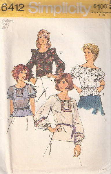 blouse 1970s Sewing pattern