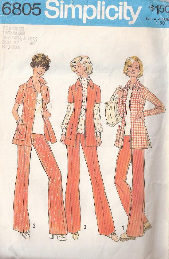 shirt-jacket pants 1970s Sewing pattern