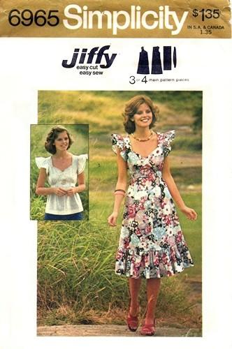 jiffy dress top 1970s Sewing pattern
