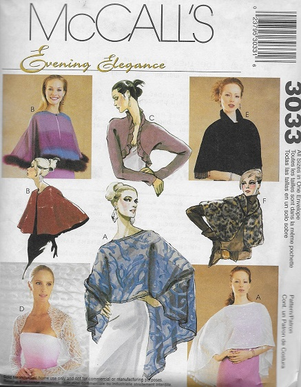 evening cover-ups capelet shrug sewing pattern