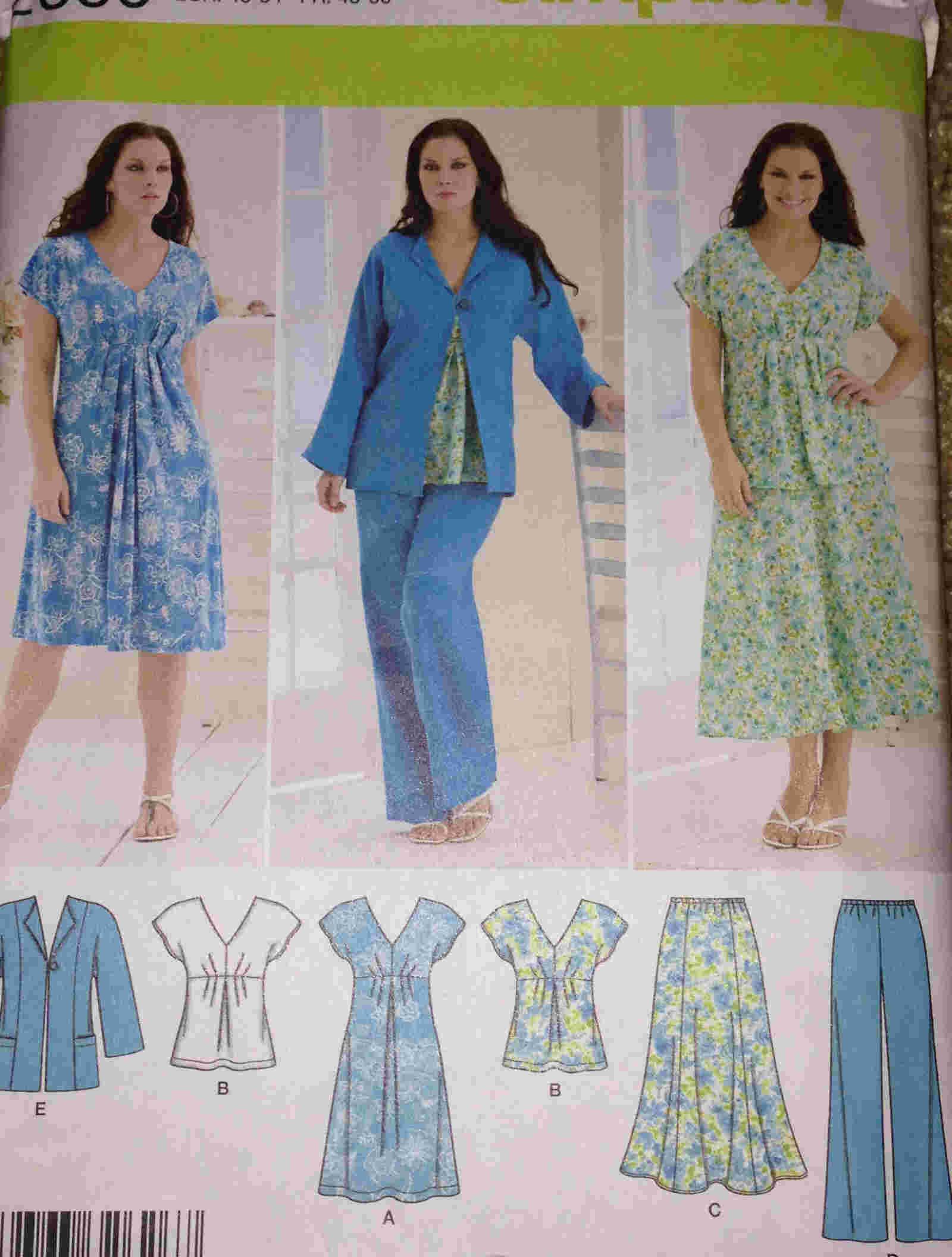 plus size dress skirt pants jacket top sewing pattern