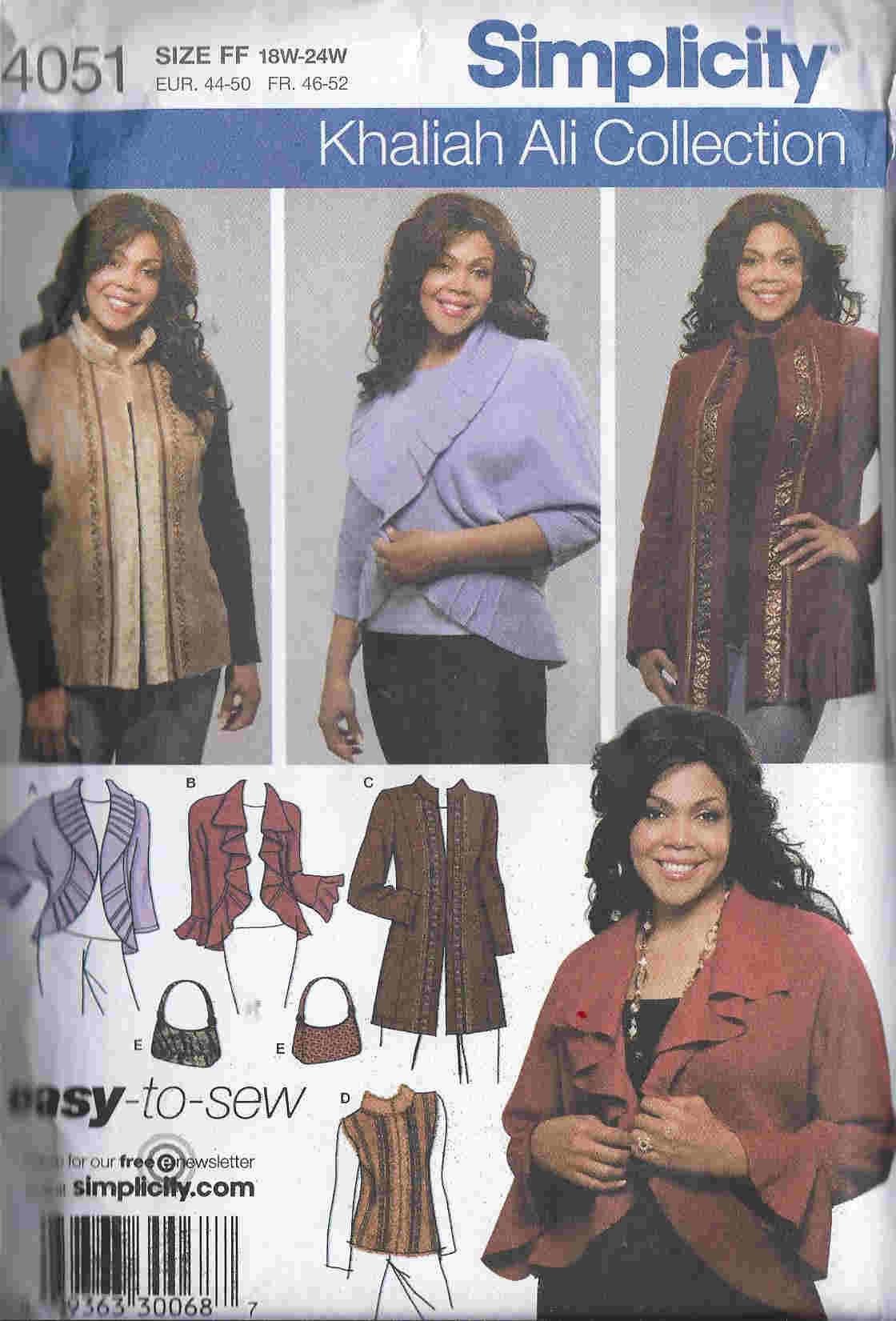 plus size jacket vest bag sewing pattern