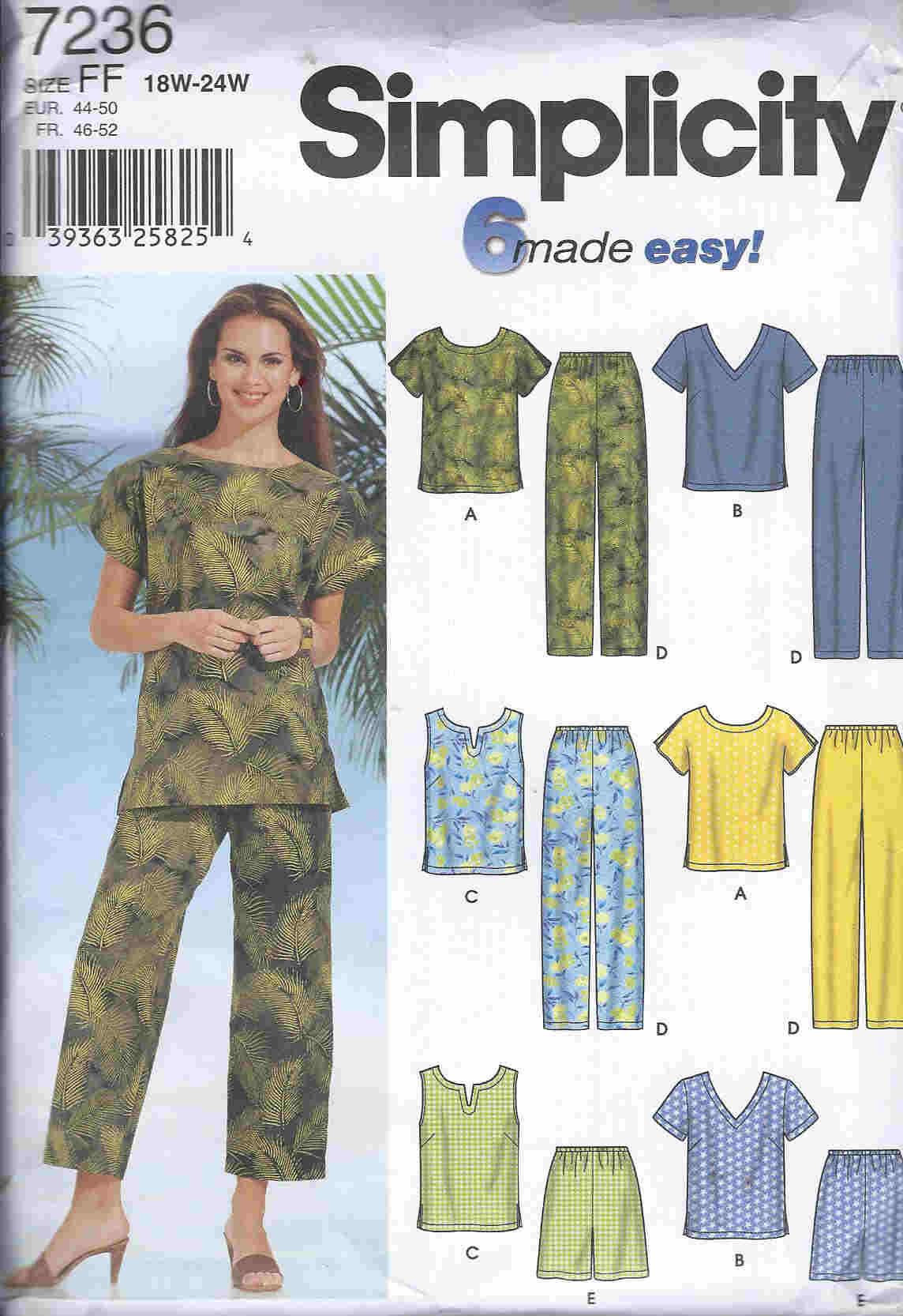 plus size top pants sewing pattern