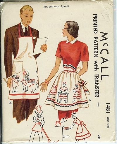 vintage Mr Mrs apron sewing pattern