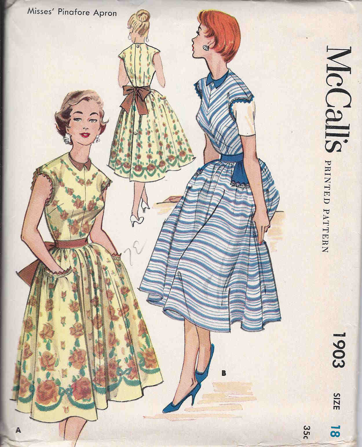 vintage pinafore apron sewing pattern