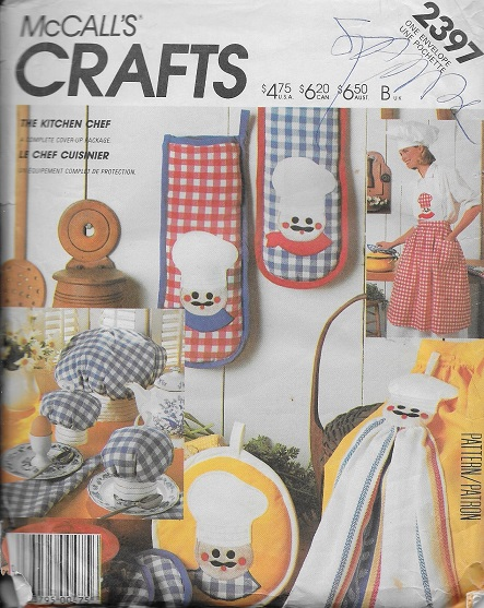 kitchen chef apron mitt towel hat sewing pattern