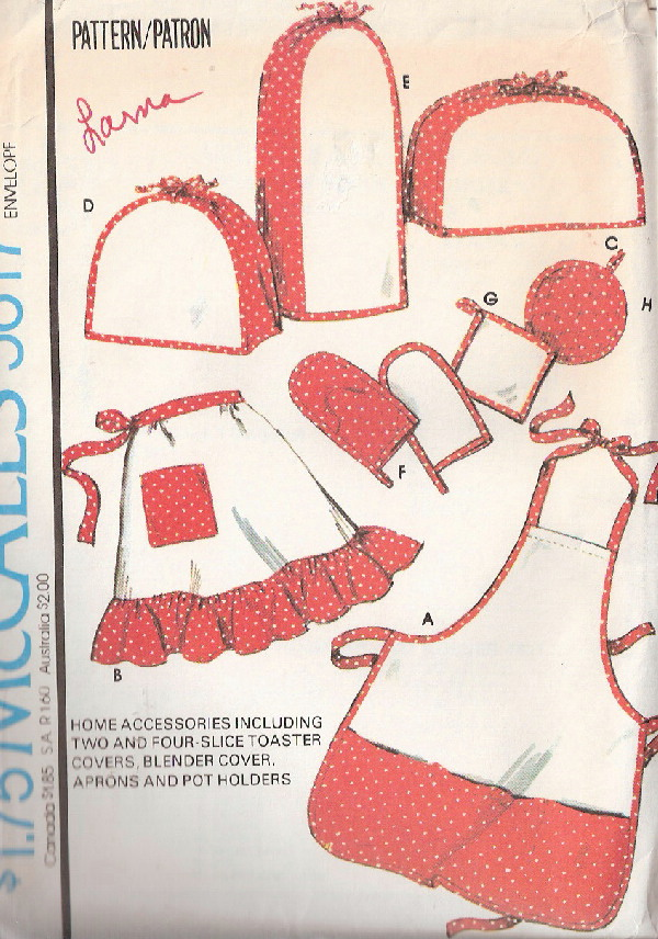appliance covers apron potholders sewing pattern