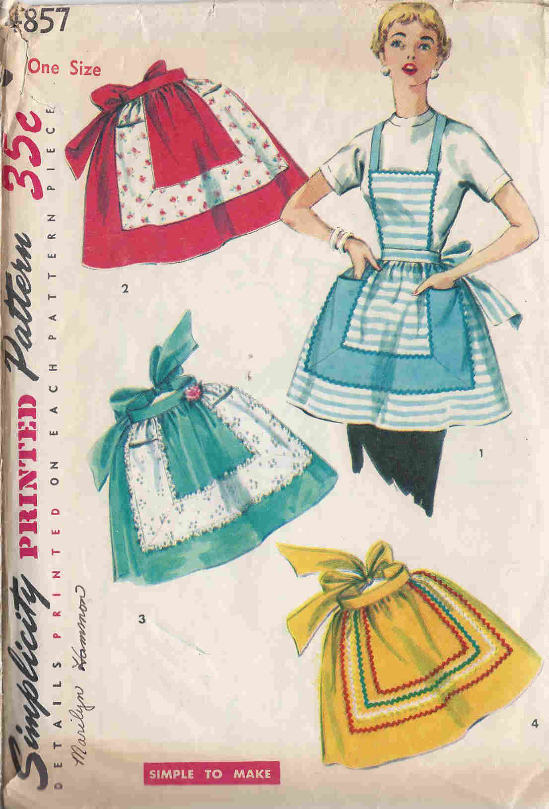one yard apron vintage sewing pattern
