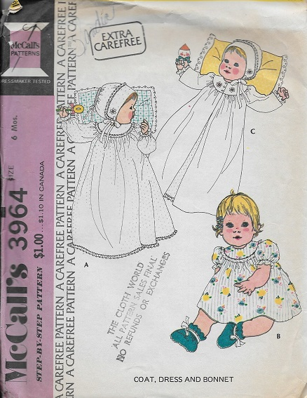 baby coat dress bonnet christening outfit sewing pattern