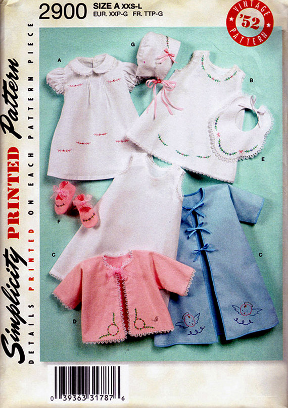 baby dress slip kimono bib booties bonnet sewing pattern