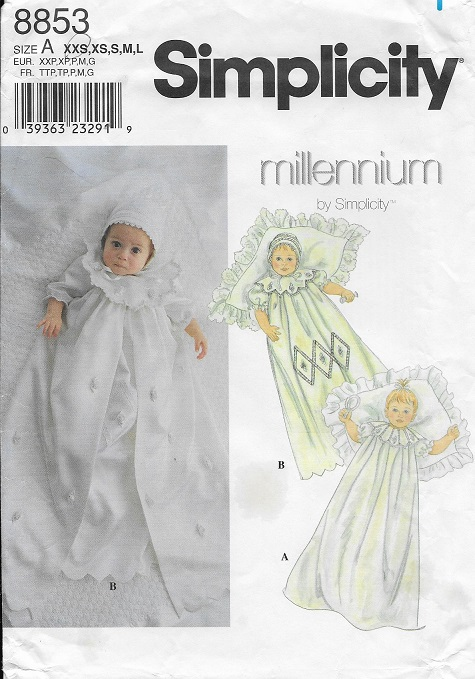 baby christening gown slip bonnet sewing pattern