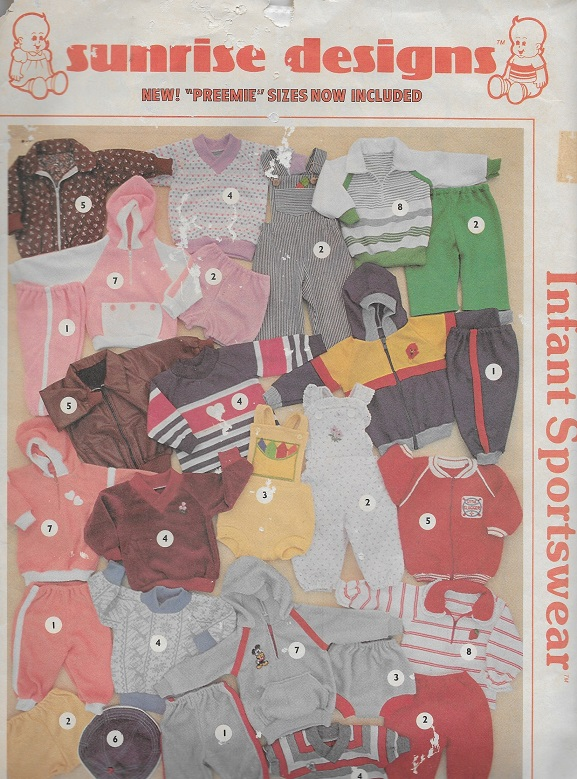 sunrise designs infant sportswear sewing pattern