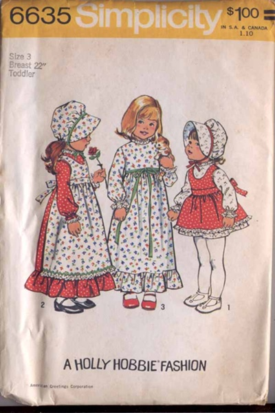 Holly Hobbie dress apron bonnet sewing pattern