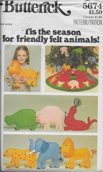 tree skirt animal pillows ornaments felt sewing pattern