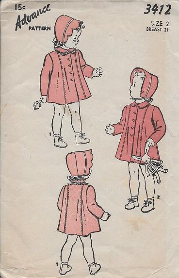 toddler coat bonnet sewing pattern