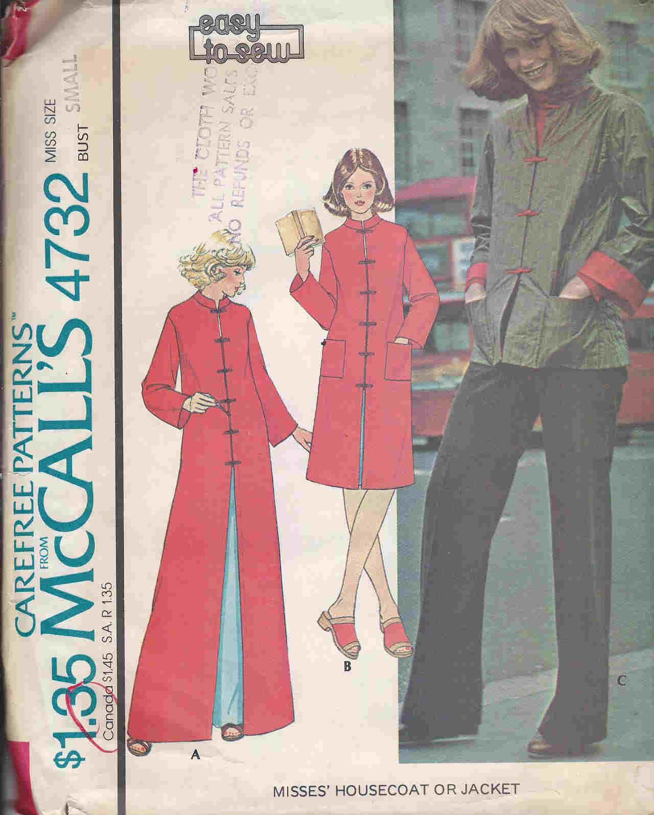 Housecoat Jacket sewing pattern