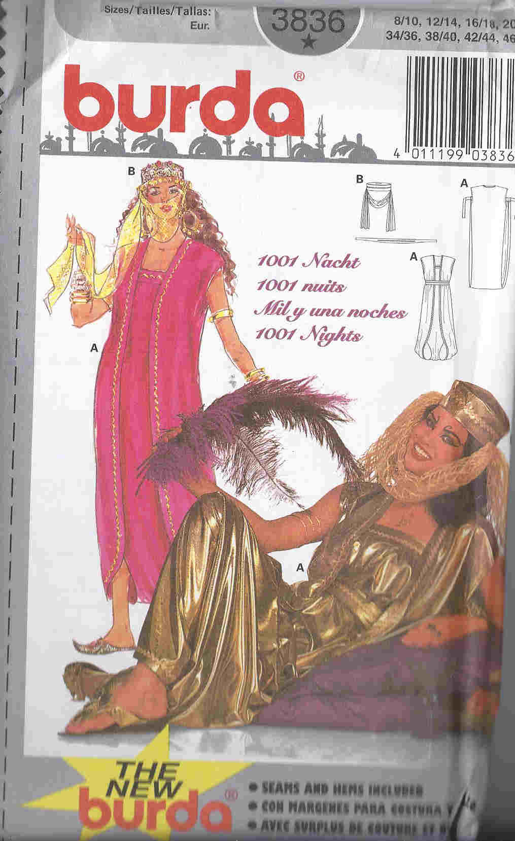 arabian nights costume sewing pattern