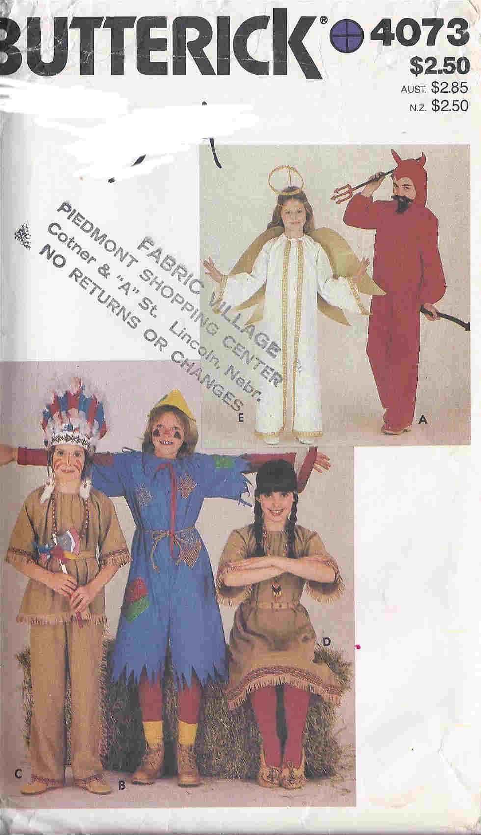 indian scarecrow devil costume sewing pattern