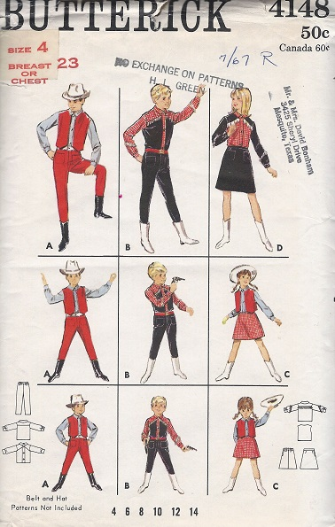 cowboy cowgirl costume sewing pattern