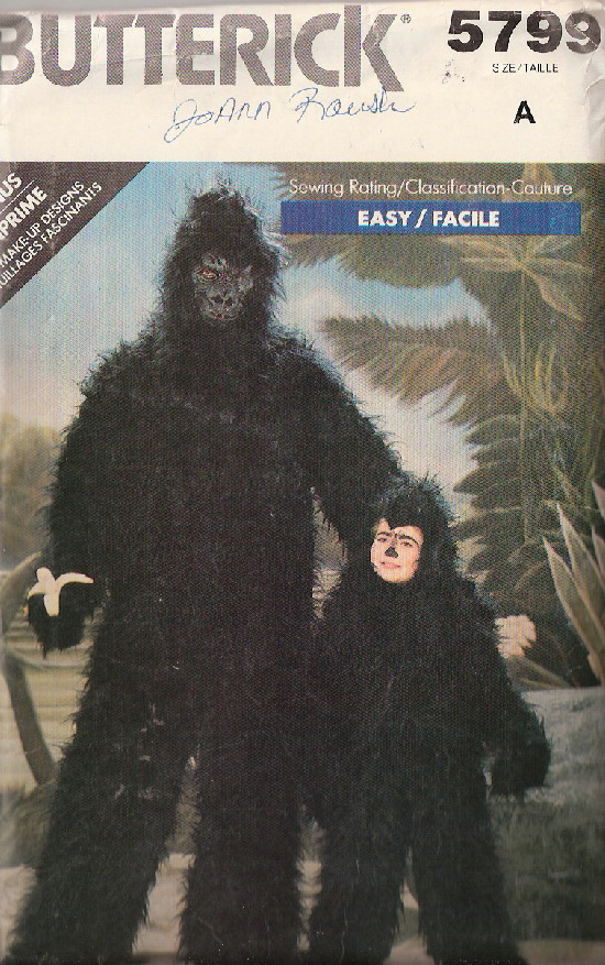 king kong costume sewing pattern