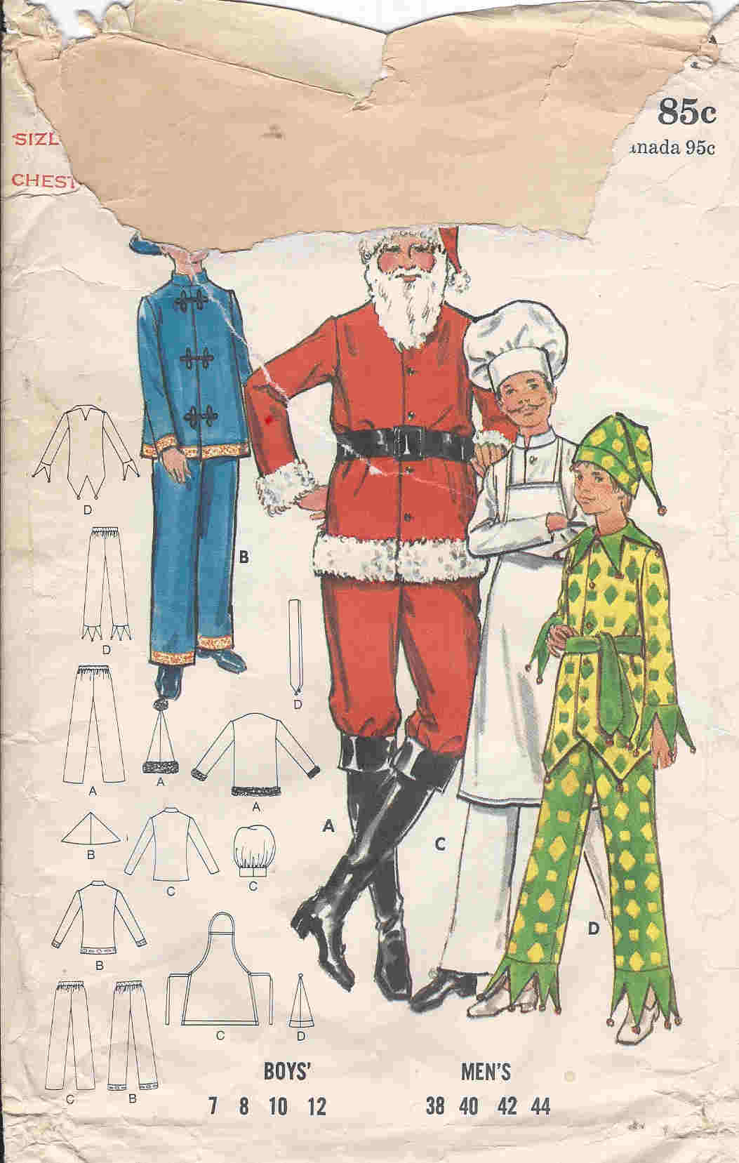 santa chef jester costume sewing pattern